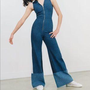 MAJE patchwork denim jumpsuit
